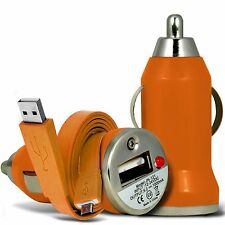 Naranja Solo puerto USB coche cargador Y Cable De Datos Para Asus zenfone Max zc550kl