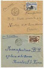 FRENCH IVORY COAST KATIOLA 2 ENVELOPES 1952 + 1957 SINGLE + DOUBLE RING CANCELS