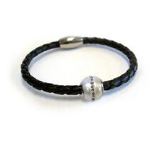The Single Pearl Black Leather Bracelet