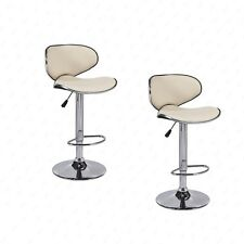 BN Set of 2 Adjustable Bar Stools Leather Hydraulic Swivel Dining Chair Cream