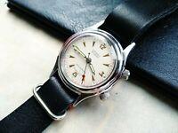 POLJOT Signal Alarm Vintage Soviet Watch 1MChZ Kirovskie cal.2612.1 Leather Band