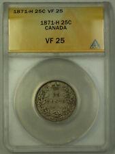 1871-H Canada Silver Quarter 25c ANACS VF-25 JMX