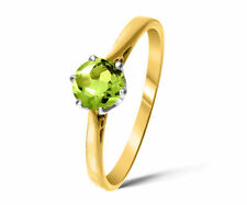 Peridot Yellow Gold Solitaire Engagement Fine Rings