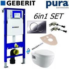 GEBERIT DUOFIX UP320 FRAME + PURA BATHROOMS IVO WALL HUNG TOILET & SEAT 6IN1 SET