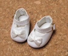 """13/"""" Patsy Leathr Look Bows 54mm WHITE Ribbon Side Mary Janes Doll Shoes"""