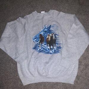 Vintage Tultex Hand Painted Horse Crewneck Sweater Sweatshirt XL 90s Nice Gray