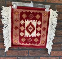 Small Plush Tapestry Rug Fringe Edges Costume Prop Flying Carpet Doily Prayer