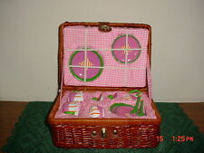 "BARNES & NOBLE CHILD'S CERAMIC ""MINI TEA-PLAY SET"" IN WICKER STORAGE BASKET!"