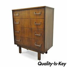 Vintage Mid Century Modern Danish Style Walnut Chrome 4 Drawer Chest Dresser