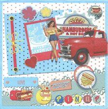 2 Serviettes en papier Années 50 Nostalgie Mode Paper Napkins Fifties Pinup