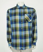 New Marmot Flannel Blue Plaid Striped Button Front Shirt Mens Large
