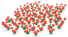 50 Red Lego Flowers: 50 Green Grass Plant Stems & 150 Flower Petals on Sprues