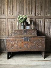 A 17th Century Carved Oak Boarded Chest Dated 1620 With The Noel Family Crest