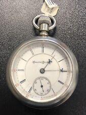 18S Pocket Watch Working Condition New listing Hampden Watch Co. Silverine Railway
