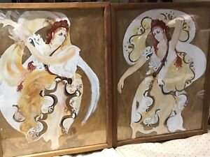 TWO WORKS ORIGINAL ILLUSTRATIONS of COSTUME DESIGNS By Anne Curry Signed.