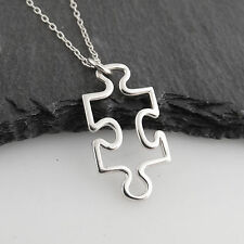 Puzzle Piece Charm Necklace - 925 Sterling Silver - Autism Awareness Jigsaw NEW