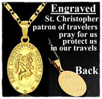 """18k Yellow Gold 18"""" 20"""" 24"""" 30"""" Bar Link Chain Oval Saint Christopher Necklace"""