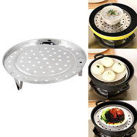 AU_ ALS_ Stainless Steel Steamer Rack Stock Pot Steaming Tray Stand Cookware Too