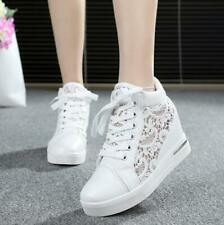 Womens Mesh Lace Platform Wedge Heel Shoes Lace Up High Top Sneakers Round Toe