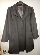 ERRE 100% PURE CASHMIRE FABRIC WOMENS 4 BUTTON BLACK COAT USA 8 ~ MADE IN ITALY