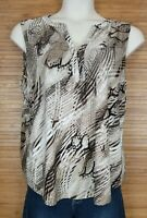 Dana Buchman Brown Mixed Print Stretch Sleeveless V-Neck Top Blouse Size XL EUC