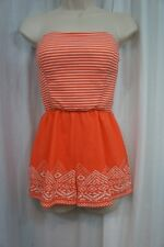 4cae7cae7601 Derek Heart Romper Sz S Melon Alert Orange White Striped Strapless Padded  Bust