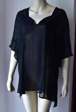 SILVIA MORI Noir en mousseline de soie Haut Plage Été Taille 18/T46 neuf avec étiquette #4