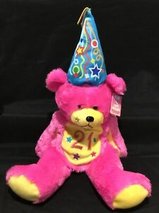 """SKANSEN GIFTED BEARS PARTY ANIMALS """"21"""" LARGE PINK TEDDY VINTAGE COLLECTIBLE"""