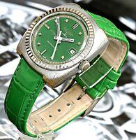 Vintage Swiss Made Sicura Breitling ShockResistant 25Jewel Men's Watch All Green