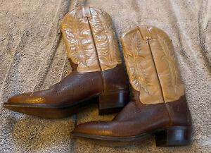 Tony Lama Mens Size 10 D  Cowboy Boots Tan & Brown Leather