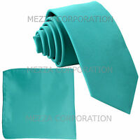 "New Vesuvio Napoli Men's 2.5"" skinny necktie & hankie set Turquoise blue formal"