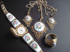 Watch Vintage CHAIKA Finift Filigree Enamel ROSE  Women Kit USSR RRR!!!!