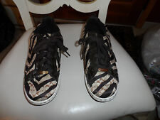 Ladies Coach brown and Tan Naya lace front zebra print sneaker size 8.5M