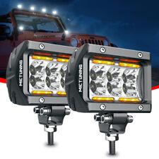 "MICTUNING LED Pods 2Pcs 4""18W Off Road Spot LED Light Bar W/ Amber Marker Light"