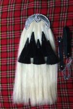 Black Watch Original Long Horse Hair Sporran White Body With 5 Black Tassels.