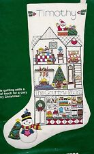 Vtg Dimensions Country Store Doll House Santa Quilted Crewel Stocking Kit 8039 E