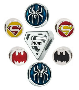 "Super Mom ""S"" Spider Batman European Charm 925 Bracelet Necklace Free Gift Bag"