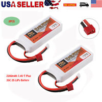 2PCS ZOP Power 2S LiPo Battery 7.4V 2200mAh 35C T Plug for RC Drone Car Airplane
