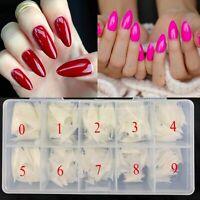 550Pcs Full Cover False Nails Fake Pointing Tips Clear Natural Nail + Box Beauty