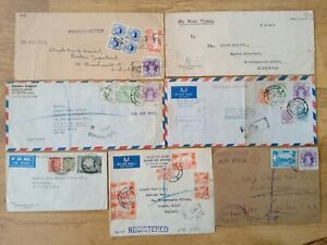 Burma Defin/Commem Registered Air Mail/State Service Covers (7), 1930s to 50s