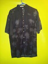 Men's Small Campia Tropical Hawaiian Shirt Black 100% Rayon