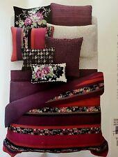 Bloomingdales SKY VELVET STRIPE 5p Queen Duvet Set purple red fuchsia floral$360