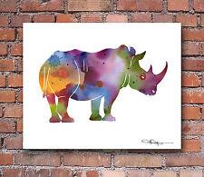 Rhino Abstract Watercolor Painting Rhinoceros Art Print by Artist DJ Rogers