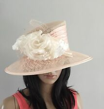 PALE PEACH AND IVORY WEDDING ASCOT HAT OCCASION MOTHER OF THE BRIDE