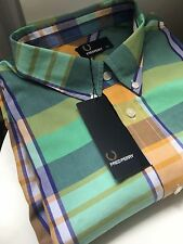 Fred Perry Mens Multi Colour Madras Modernist Check shirt Size XL