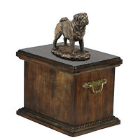 Solid Wood Memorial Casket Pug Urn for Dog's ashes,with Dog statue Cremation urn
