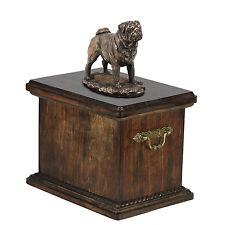 madera maciza CONMEMORATIVO Ataúd carlino Urna para de perro ashes , con Estatua