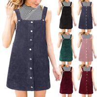 Women Corduroy Straight Suspender Mini Bib Overall Pinafore Mini Short Dress NEW