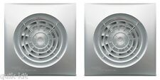 """2 x Envirovent SIL100ST """"Silent"""" Extractor Fans with Timer Chrome /Silver Finish"""