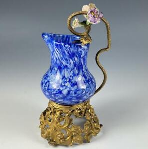 Antique French Art Glass Petit Pitcher, Creamer, Porcelain Flowers, Ormolu Frame